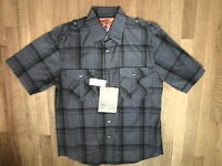 NWT SWISS CROSS Drk Grey, Plaid, 2 Pocket, Military, Short Sleeve, Sz Med (122)