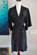 Geren Ford M Silk Polka Dot Dress V Neck Kimono Sleeve Knee Length Size M