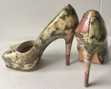 Aldo Snake & Floral Print Stiletto & Platform Peep Toe Leather Shoes Size 6