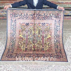 Yilong 4'x4' Square Handknotted Golden Silk Carpet Oriental Classic Rug MC538A