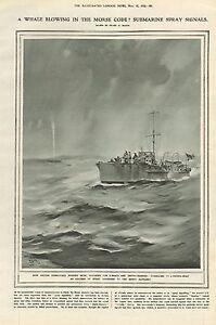 1919 ANTIQUE PRINT- SUBMARINE SPRAY SIGNALS