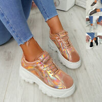 WOMENS LADIES SHINY CHUNKY TRAINERS LACE UP PATENT SNEAKERS PLIMSOLL COMFY SHOES