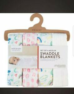 Bebe Au Lait set of four cotton Muslin swaddle blankets Rrp45£