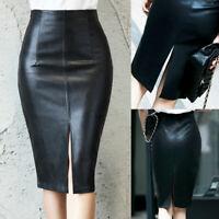 Women PU Leather Pencil Skirt Fashion Knee Length Midi Bodycon Skirts Plus Size#