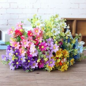28 Head Daisy Artificial Flower Fake Floral silk Plant Home Wedding Bouquet Vase