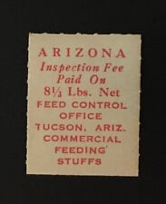 Arizona State Revenue - 8-1/3 lbs. red Feed Tax #Fe1 - M-Hr - Az
