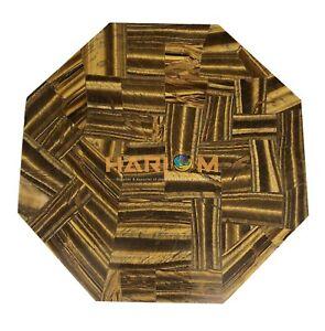 "18"" Marble Coffee Centre Table Top Beautiful Tiger Eye Random Inlay Decor E1356"