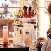 Plastic Cosmetic Organiser Makeup Jewellery Storages Box 360 Rotating Acrylic UK