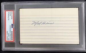 Mel Hein Signed Index Card Autograph PSA/DNA Giants Football HOF Slabbed