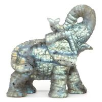 Elephant Statue Natural Gemstone Labradorite Crystal Healing Home Decor 3.11""