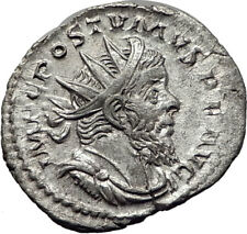 POSTUMUS  266AD Silver Genuine Authentic Ancient Roman Coin Juno Moneta i65354