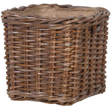 Large Brown Willow Wicker Square Lined Log Toy Storage Handles Holder Basket