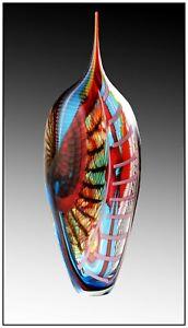 Afro Celotto Original Hand Blown Murano Glass Vase Sculpture Signed Modern Art