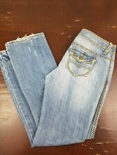 ALMOST FAMOUS Women's Distressed Jeans sz7 Regular Thick Stitch Snap Flap Pocket