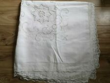More details for vintage hand embroidered very large white cutwork lace tablecloth free postage