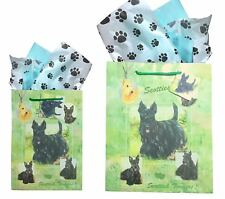 New Scottish Terrier Gift Bags Set of Two with Tissue Paper Terriers Scotties
