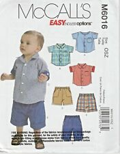 McCall's Sewing Pattern 6016 Boys Babies Sml-Xlg Button Down Shirts Shorts Pants