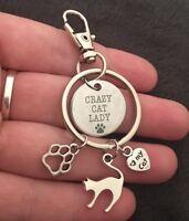 Crazy Cat Lady Charm Keyring I Love Cats Bag Charm Keychain Fob Gift Cat Emoji