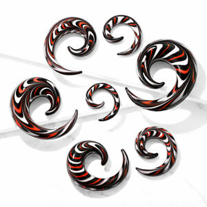 PAIR Red, White & Black Glass Spiral Tapers Expanders Plugs Gauges Body Jewelry