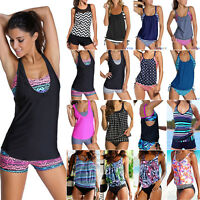 Women Push Up Padded Tankini Bikini Set Swimsuit Bathing Suit Swimwear Plus Size