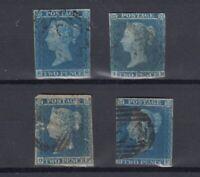 GB QV 1841 2d Blue Imperf Collection x 4 JK1613
