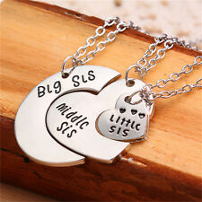 Love Charm Big Middle Little Sisters Necklaces Gift Silver Hearts Pendant new JF