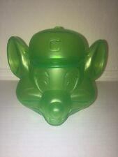 Chuck E Cheese Coin Bank Penny Bank Transparent Green Head EUC