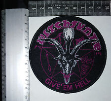 WITCHFYNDE Give 'Em Hell WOVEN PATCH BLACK BORDER (HIGH QUALITY) OFFICIAL