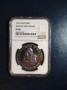 1973 HAITI Fifty Gourdes NGC PF66  WOMAN & INFANT SILVER 50G Coin PRICED TO SELL