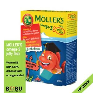 Moller's Omega-3 Jelly Fish Brain Immune System EPA DHA D3 36 pieces