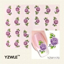 Purple Rose 3D Nail Art Sticker Decal Decoration Manicure Water Transfer