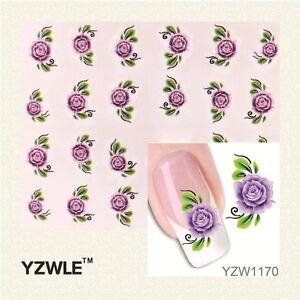 Purple Rose Flower Nail Art Sticker Decal Decoration Manicure Water Transfer