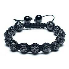 Black Pave Crystal Ball Shamballa Inspired Bracelet Black Cord String Adjustable