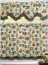 TEA COFFEE CUP KETTLE POT UTENSILS KITCHEN WINDOW 3 PC SET TIERS VALANCE CURTAIN