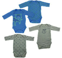 4er Set Baby Langarm Body Strampler Bio Baumwolle Pyjama Junge Katze Affe 62 68