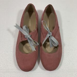 Elephantito Sabrina Suede Pink Mary Jane Shoes Sz 3 US
