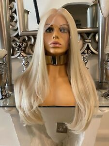 blonde human hair Lace Front blend Wig Bleach Blonde Wig, lace front Wig