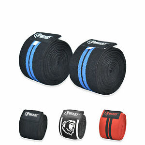 """Weight lifting knee wrap Training Powerlifting knee support flexible 78"""" pair"""