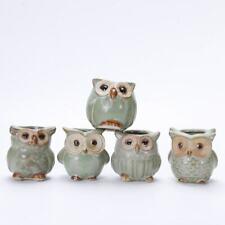 Small Mini Ceramic Owl Pot Succulent Flower Container Plant Decor Garden Planter