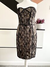 REISS Dress Size 10 NUDE BLACK | SMART Occasion WEDDING Cruise RACES LACE