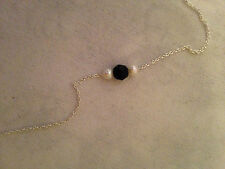 STERLING SILVER 925 ONYX AND  PEARL PENDANT NECKLACE. WEIGHT 1.37g new in bag