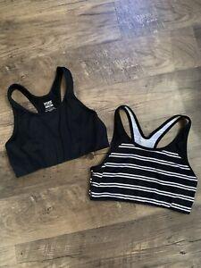 2 Pink Victorias Secret Ultimate Black & White Sports Bras Size Medium