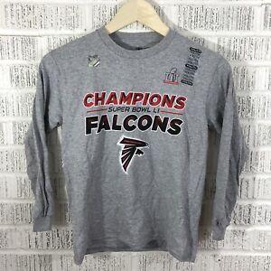 NEW Uncirculated Atlanta Falcons Super Bowl Champions NFL LS shirt Youth L Grey