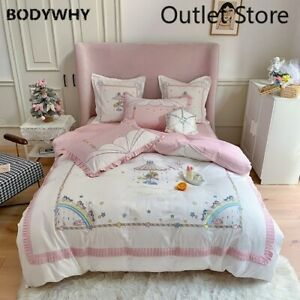 4/7pcs Egyptian Cotton Bedding Sets Embroidery Bed Duvet Cover Bed Sheets Set