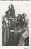 Man Plays Violin to Pretty Woman with Annoyed Boyfriend Vintage Snapshot