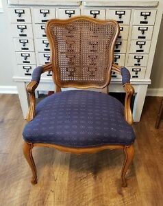 Vintage French Bergere Cane French Provenial Country Accent Arm Chair Free ship!