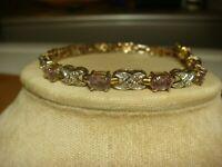 Sterling Silver Bracelet purple amethyst tennis 7 1/2