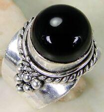 Black Onyx2 & 925 Silver Handmade Designer Ring Size R & gift box