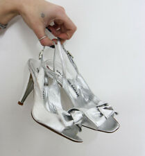 SCARPE SANDALS DONNA SILVER SHOES sabot ARGENTO sexy tallone aperto women 35
