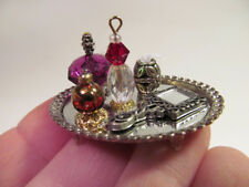 *Miniature Dresser Tray Vanity Perfume Bottles for Dollhouse Silver & Purple